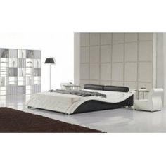 Revietta   Modern White / Black Leather Platform Bed