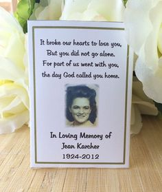 Funeral Gift Rememberance Gift Memorial Cards by FavorUniverse