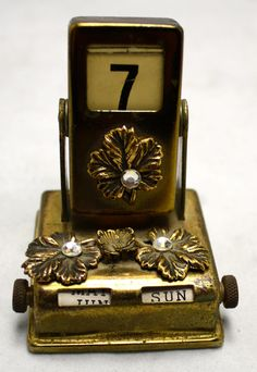 Vintage Gold Perpetual Calendar Month Day of by LuckySevenVintage, $24.00