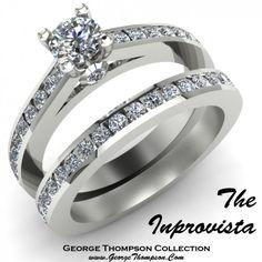 The Inprovista a White Gold and Diamond Wedding Set by @George Thompson #WeddingSet #Diamond #Engagement