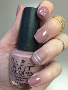"OPI ""Tickle My Francey"". used Seche Vite top coat for the shiny nails and Silver Nail Tape from Sally Beauty Supply ...then put Essie ""Matte About You"" over the tape the ring finger."