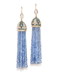 Siddharth Kasliwal introduces his first collection for Munnu the Gem Palace ~ Plique-à-jour tassel earrings feature diamonds, sapphires, and pearls.