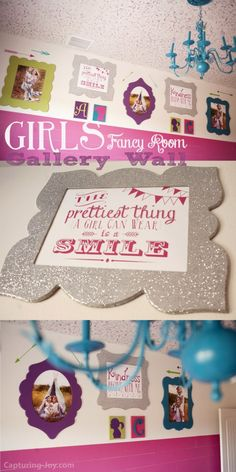 Girl's Bedroom Gallery Wall - love using pictures and quotes to decorate rooms! KristenDuke.com