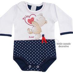 Body Bebê Menina Bolinha Manga Longa Marinho - Patimini :: 764 Kids   Roupa bebê e infantil