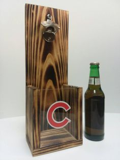 Rustic wooden bottle opener, Chicago Cubs or Your Pro Baseball team choice Cubs Pictures, Baseball Highlights, Bottle Cap Opener, Carved Wood Signs, Pro Baseball, Wedding Shit, Major League, Chicago Cubs Logo, Logs