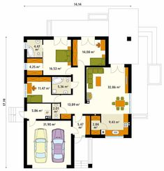 Walls by Biuro Projektów MTM Styl - domywstylu. Free House Plans, Modern House Plans, Small House Plans, Modern Minimalist House, Small Modern Home, Single Story Homes, One Story Homes, Small House Design, Modern House Design