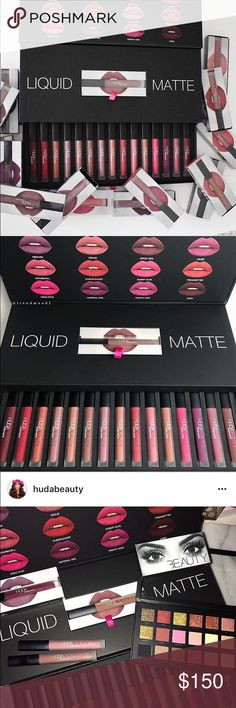 Huda Beauty liquid lipstick vault Includes all 16 shades of Huda Kattans liquid lipstick collection. This vault was sold online at shophudabeauty.com for one day only as a Christmas special. I purchased it for a friend who later told me she would have no use for them. Originally $260 just trying to get some of my money back. Feel free to check out her Instagram for proof (last picture). huda beauty Makeup Lipstick