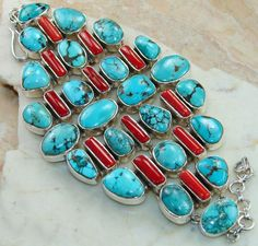 Turquoise, Coral  bracelet designed and created by Sizzling Silver. Please visit  www.sizzlingsilver.com. Product code: BR-7078