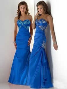 Style Trumpet Mermaid Sweetheart Beading Sleeveless Floor-Length Taffeta Prom Dress ... many color options.
