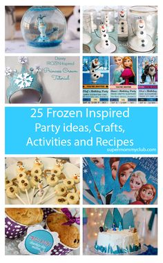 We've rounded up 25 great Frozen party ideas, crafts, activities and recipes, perfect for a birthday party, or just keeping the kids entertained on a rainy day this summer! Disney Frozen Party, Frozen Theme, Frozen Birthday Party, 3rd Birthday Parties, Birthday Fun, Preschool Birthday, Birthday Ideas, Frozen Activities, Activities For Kids