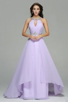 Beading Halter Neck A-line Long Lavender Chiffon Prom Dress with Beaded Belt