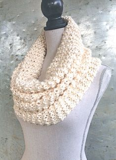 Winter Snow Cowl - White Scarf - Almond White Industrial Whimsy Loop Circle Scarf on Etsy, $48.00