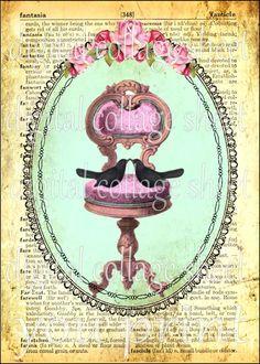 WHiMSiCaL LiTTLe BLaCK BiRDs on PiNK PeDeSTaL CHaiR original ViNTaGe DeSiGN Digital Collage Sheet download altered clip art paper supplies