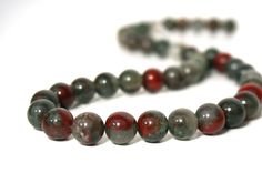 10mm round African bloodstone gemstone beads by RiverSongBeads, $8.30