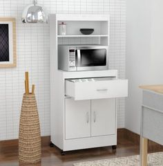 Functional microwave space. Kitchen Storage Cabinet Features Set includes: One (1)storage cabinet. Designed with simple, clean lines and plenty of open and closed spaces, this modern classic piece gives your kitchen a fresh look with practical style. | eBay!