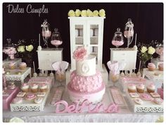 Stunning dessert table at a shabby chic baptism party! See more party planning ideas at CatchMyParty.com!