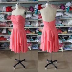 Simple High Low Bridesmaid Dress,Custom Made Coral Short Bridesmaid Dress,Knee Length Ruffles Bridesmaid Dresses,Sweetheart Cocktal Dress Modest Prom Gowns, Classy Prom Dresses, Sparkly Prom Dresses, Mermaid Evening Dresses, Homecoming Dresses, Party Dresses, Shower Dresses, Graduation Dresses, Dresses Uk