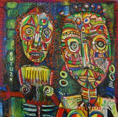 Swiss Artist Painter | Painted by Cathy Butuza #outsiderart #artbrut #art #artist #facesart #acrylic #painting