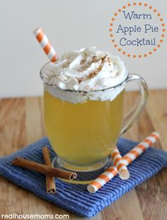 Warm Apple Pie Cocktail is super easy to make, smells wonderful, and tastes like a sweet apple pie dessert! It can also be made without rum so kids can enjoy it too!