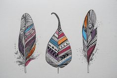 Aztec Feathers and Leaf Original Artwork Ink and by MyZenMode,