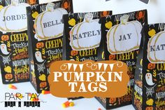 pumpkin tags free printable perfect for goody bags, name tags or place settings.