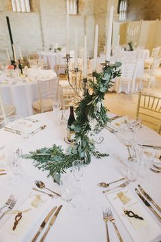 Candlesticks Candelabra Foliage Greenery Centrepiece Table Decor Stylish Rustic Hand Made Wedding http://jasonwilliamsphotography.com/