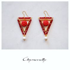 JEWELRY | Chryssomally || Art & Fashion Designer -  Uniquely elegant geometric gold earrings with red cinnabar, crystals and white pearls Gold Earrings, Drop Earrings, Fashion Art, Fashion Design, Pearl White, Pearls, Crystals, Elegant, Red