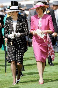 June 3, 1987:  Princess Diana with Sarah Ferguson at The Epsom Derby, Epsom, Surrey, England.