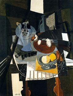 Georges Braque, Still Life with Fruit Dish, Bottle and Mandolin, Kunstsammlung Nordrhein-Westfalen, Düsseldorf. © 2013 ARS (Bottle Painting Still Life) Pablo Picasso, Picasso And Braque, Cubist Paintings, Cubist Art, Henri Matisse, Georges Braque Cubism, Maurice De Vlaminck, André Derain, Alberto Giacometti