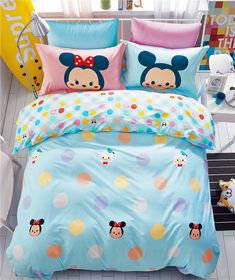 Soft cotton Mickey Minnie Mouse cover set bed sheet Bedding Set New Cartoon Tsum Peach Bedding, Blue Bedding Sets, Cotton Bedding Sets, Cotton Duvet, Mickey Mouse Room, Minnie Mouse, Cool Bedrooms For Teen Girls, Girls Bedroom, Bed Covers