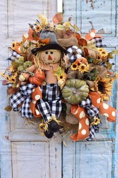 Your place to buy and sell all things handmade, Fall Mesh Wreaths, Autumn Wreaths, Wreaths For Front Door, Wreath Fall, Thanksgiving Wreaths, Thanksgiving Decorations, Fall Decorations, Etsy Wreaths, Indoor Wreath