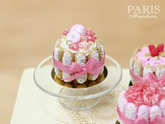 Charlotte Decorated with Pink Berlingot Candy, Macaroon, Pink Silk Bow - ♡ ♡