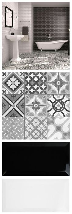 Mix brick shaped metros and patterned Zeinah Tiles for a striking monochrome / Moroccan mash up in a bathroom or kitchen! - Mix brick shaped metros and patterned Zeinah Tiles for a striking monochrome / Moroccan mash up in a bathroom or kitchen! Cheap Bathroom Flooring, Cheap Bathroom Remodel, Cheap Bathrooms, Kitchen Flooring, Kitchen Backsplash, Black Backsplash, Tiles For Kitchen, Metro Tiles Kitchen, Patterned Kitchen Tiles