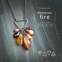Items similar to Elements: Fire - Alchemy Symbolism Sterling Silver Pendant Sunstone Citrine Pink Peruvian Opal Garnet Pink Ethiopian Opal Ruby on Etsy Peruvian Opal, Wire Wrapped Jewelry, Metal Jewelry, Rock Jewelry, Ceramic Jewelry, Steampunk Necklace, Jewelry Findings, Gemstone Jewelry, Sapphire Jewelry