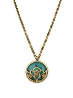 Wear a piece of nature with you wherever you go. The lotus details create an organic look while the long rope chain adds style and interest to this boho chic pendant necklace. The details continue ont