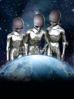 UFO: grey aliens and earth, art by Luca Oleastri - www.innovari.it #ufo