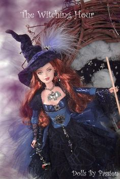 Ooak Barbie Witch, by Passion. Barbie Costume, Barbie I, Barbie World, Barbie Dress, Barbie Clothes, Barbie Gowns, Barbies Dolls, Pretty Dolls, Beautiful Dolls
