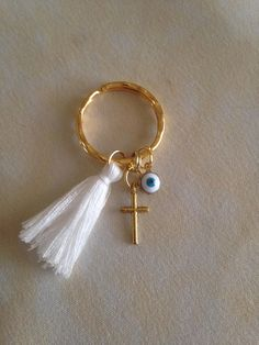 Martyrika Key chain Martyrika Bracelet-Greek Orthodox Baptism Cross Mati charms Tassel size Key Ring size Thank you for looking. Baptism Favors, Birthday Favors, Key Rings, Key Chain, Christening, Diy And Crafts, Baby Shower, Weddings, Personalized Items