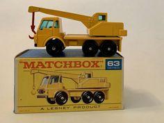 Vintage Matchbox Lesney # 63c Yellow Dodge Crane Truck 1963 With Original Box  #Matchbox #DodgeCraneTruck