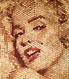 Marilyn Monroe wine cork mosaic