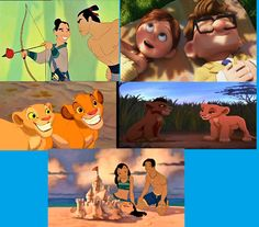 Day 9- favorite couple. I can't decide I like all of these. Mulan and Shang fought together and weren't the typical romance story. Ellie and Carl stayed together until death. They never took each other for granted. Nala and Simba were childhood friends. Kiara and Kovu had to overcome boundaries. Nani and David care for each other. Nani had to take care of her little sister after her parents died AND take on Stitch, Jumbo, and Pleekly. David knew this and was willing to be with her anyway