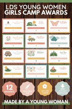 Enhance lds Girls Camp! These girls camp awards are non-food and emphasize young women's strengths with a nature theme. Editable pdf. Perfect for YCLs, awesome for your Latter-Day Saint camp! 12 total certificates. Printable instant download. Spiritual and fun message! Girls Camp Awards, Secret Sister Gifts, Strength Of A Woman, Visiting Teaching, Camping Crafts, Young Women, Lds Blogs, Mj, Campers