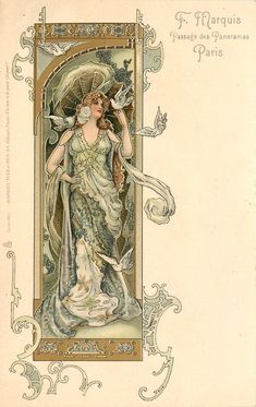 Art Nouveau Postcard, art by Eva Daniell, published by Raphael Tuck 1904 woman wearing green, doves on left hand & right shoulder, two flying, she looks right
