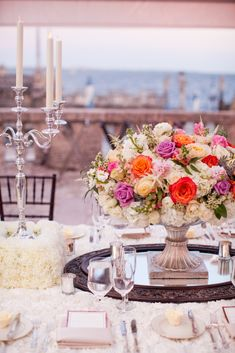 """Unique Table Decor. ocean view reception. clear tent, vintage florals, tall candles. wedding portraits. Professional Wedding Photos Miami, Florida Vizcaya Museum and Garden Wedding, Photos by PS Photography, Claire Pettibone dress """"Midnight,"""" Navy Blue, Slate Blue Tuxes, Vintage Chic Gatsby Style Wedding in April, Ryan and Jordan Nettleship, details on SkinnyGirlStandard Blog"""