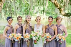 CHARLESTON WEDDINGS Magnolia Plantation and Gardens wedding with a lilac and peach color palette by Priscilla Thomas Photography, Ooh! Events, B. Gourmet Catering and Cruz Coordination