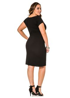 Geometric Print Blocked Sheath Dress - Ashley Stewart