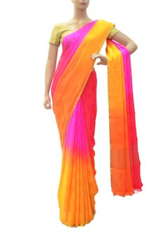 If you are looking for any bright color combination designer wear then this orange, red and pink shaded saree is best choice. This quirky piece is embellished with antique zari and handloom self woven add glimmer to your look.