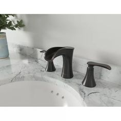 Pfister Jaida Widespread Bathroom Faucet with Drain Assembly Finish: Polished Chrome Widespread Bathroom Faucet, Bathroom Sink Faucets, Bathroom Fixtures, Tuscan Bathroom, Advanced Ceramics, Faucet Handles, Amazing Bathrooms, House Styles, Gray Bathrooms