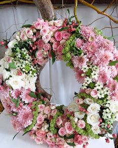 Image may contain: flower and plant Funeral Flower Arrangements, Funeral Flowers, Floral Arrangements, Wedding Flowers, Spring Front Door Wreaths, Autumn Wreaths, Hydrangea Wreath, Floral Wreath, Vintage Mason Jars