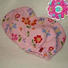 Dragonfly & Butterfly Pink No Scratch Knit Infant Mittens ~ JBCD  Custom made by Jodie B's Custom Designs www.jodiebs.com